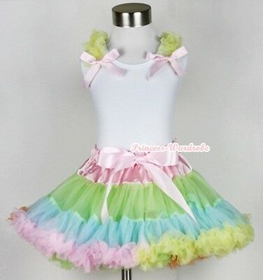 Pale Rainbow Pettiskirt Dress Yellow Ruffle Pink Bow White Tank Top Set 1-8Year