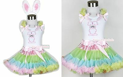 Pale Rainbow Pettiskirt Dress Easter Bunny Rabbit White Tank Top EAR Set 1-8Year