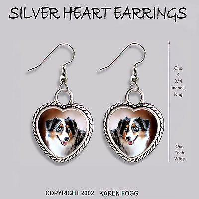 AUSTRALIAN SHEPARD DOG - HEART EARRINGS Ornate Tibetan Siver