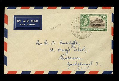 BRITISH SOLOMON ISLANDS 1957 YANDINA CANCEL on QE2 2d...INTERNAL AIRMAIL