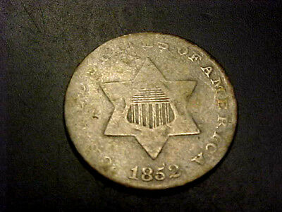 1852 3c THREE CENT SILVER PIECE COIN VG-F BUY IT NOW OR MAKE OFFER