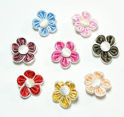 """Satin 2 layers  Flowers Appliques 8 colors 1"""" inch Hot Pink Red Gold and more"""