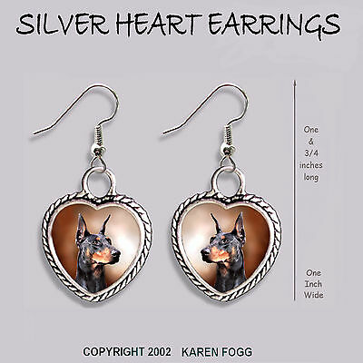 DOBERMAN PINSCHER Black Crop Ear Dobie  -  HEART EARRINGS Ornate Tibetan Silver