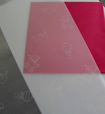 10 Sheets A4 Baby Girl Boy Vellum Sheer Paper Shower Invitation Christening pink