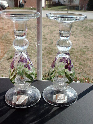 Pair Fifth Avenue Crystal Crackle Glass Candleholders Hand Painted Florals NWT