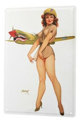 metal plate tin Sign sexy pinup girl before a fighter aircraft  20x30 cm vintage