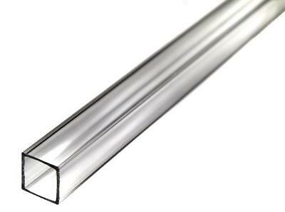 "Square Clear Acrylic Tube (Extruded) 1-3/4"" ID x 2"" OD x 36"" Long - Pack of 2"