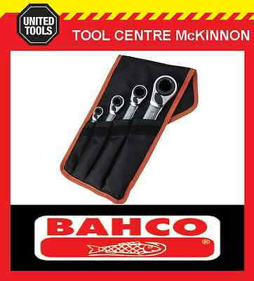 BAHCO S4RM/4T 4pce REVERSIBLE 8–27mm RATCHET RING SPANNER SET – 16 SIZES!