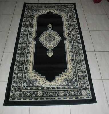New Black Persian Design Hallway Runner Floor Rug 80X150Cm