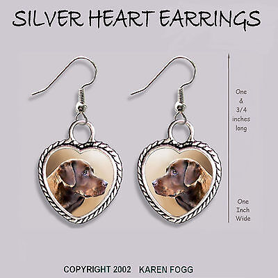 LABRADOR RETRIEVER DOG Chocolate - HEART EARRINGS Ornate Tibetan Silver