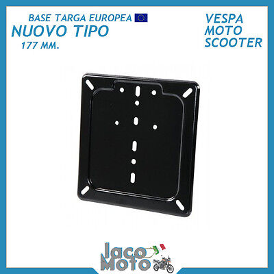 PORTATARGA EUROPEO BASE TARGA NUOVO TIPO 177 mm NERA Vespa Moto Scooter IN FERRO
