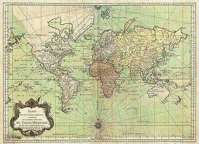Old World Map - Bellin Nautical Chart 1778 - repro, vintage, historical