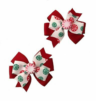 Christmas Peppermint Candy Toddler Hair Bow Set