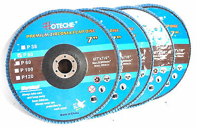 "Lot of (5) Premium Zirconia Flap Disc 7""x7/8"", 60 Grit"