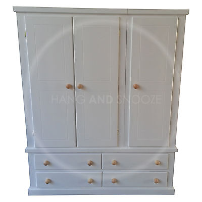 Hand Made Dewsbury Furniture 4 Drawer Triple Wardrobe White(Assembled)