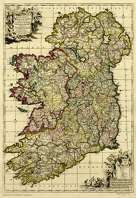 Old Map of Ireland in 1710, plan by F. de Wit - repro, vintage, historical