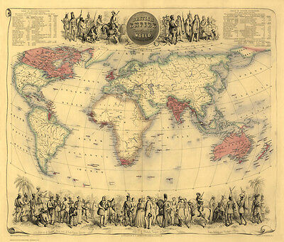 Old Map of the British Empire in1855 by Fullarton - repro, vintage, historical