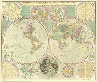Old Map of the World 1780 by Carrington Bowles - repro, vintage, historical