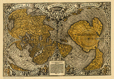 Old Map of the World in 1531 by Oronce Fine - repro, vintage, historical