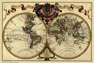 Old Map of the World in 1720 by Guillaume Delisle - repro, vintage, historical