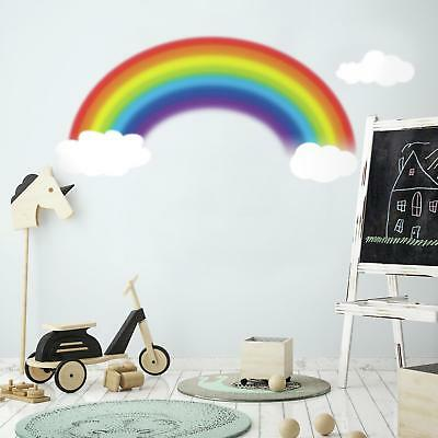 New Large RAINBOW AND CLOUDS WALL DECALS Baby Nursery Kids Room Stickers Decor