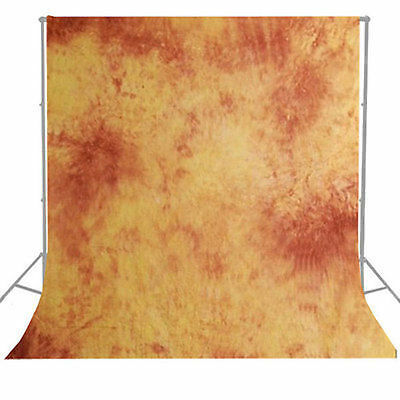 Background Backdrop Photography Tie Dyed Orange Hand Painted Muslin 6 x 9 ft