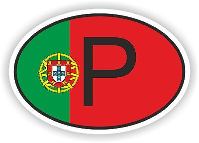 Oval Portuguese Flag With P Country Code Sticker Portugal Motocycle Auto Truck