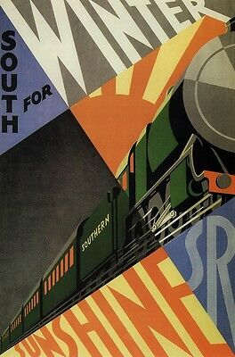 Southern Railways - South for Winter  1929 - repro old travel poster in 3 sizes