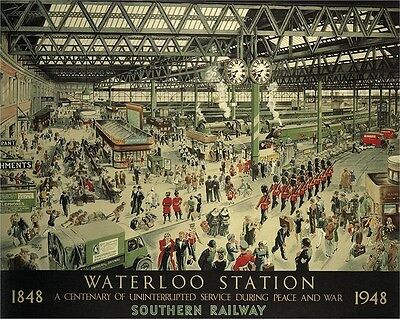 Southern Railway - Waterloo Station - repro old travel railway poster in 3 sizes