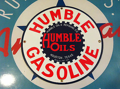 HUMBLE GASOLINE - HOUSTON, TEXAS - PORCELAIN COATED SIGN - shipping discounts