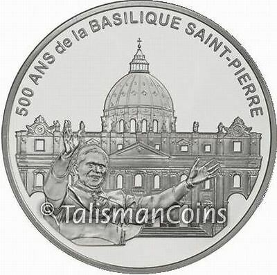 France 2006 Pope Benedict XVI + St. Peter's Basilica Rome 1.5 Euro Silver Proof