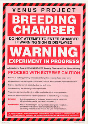 Poster - Sign:  Venus Project - Breeding Chamber  - Free Ship #fpo422 Rc28 J