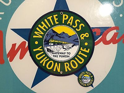 WHITE PASS AND YUKON ROUTE  RAILROAD - PORCELAIN METAL SIGN includes free magnet