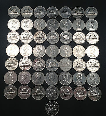 Old Canadian Nickel Lot - 50 Coins - 1953-1981 - PURE NICKEL - FREE SHIPPING!!