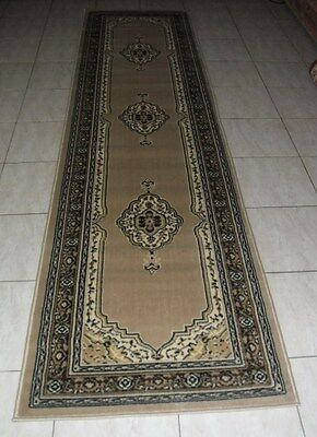 New Beige Persian Design Floor Hallway Runner Rug 80X300Cm
