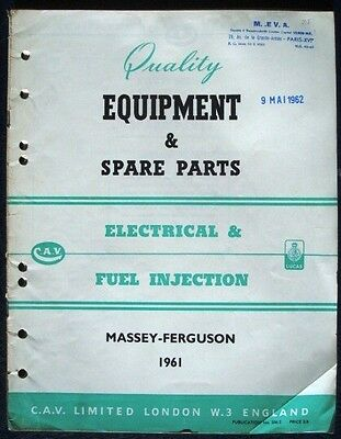 Lucas Cav Equipment & Spare Parts List Massey Ferguson 1961 Tractors Combines