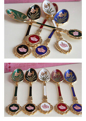 Brand New 5pcs Traditional Chinese Floral Handmade Luxury Cloisonne Spoon
