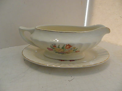 Vintage Edwin Knowles Cross-stitch Floral Flower Tulip Gravy bowl with plate