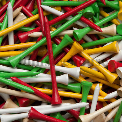 500 WHITE WOOD / WOODEN GOLF TEES (Large) + Free Golf Ball Markers