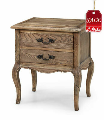 French Provincial Furniture Natural Oak Bed Side Table with drawers