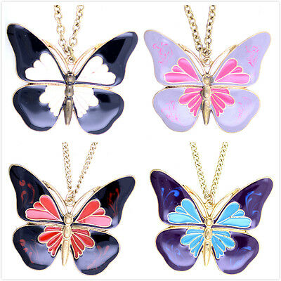 Vintage antique style enamel butterfly necklace multiple choices