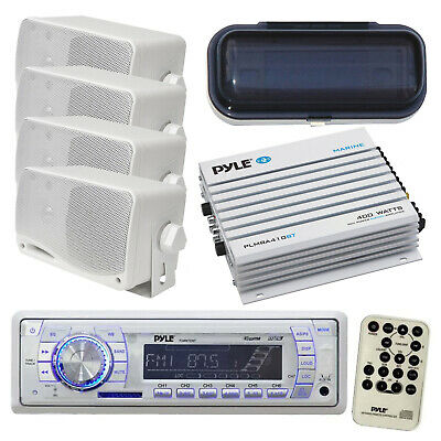 Kenwood Marine Boat Yacht In Dash AM/FM Radio Stereo 400W Amp 4 Speakers & Cover