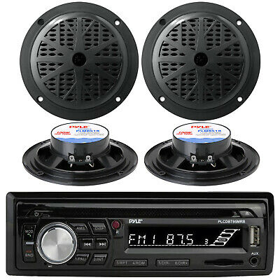 4 New Pyle Speakers + New Silver Kenwood KMRD356 Marine CD MP3 USB Stereo Player