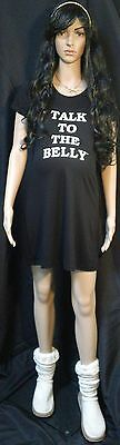 Talk To The Belly maternity fitted nightgown BLACK, L, XL, 2XL
