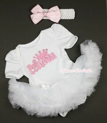 Pure White Jumpsuit Romper Princess Print & White Baby Girl Dress NB-12Month