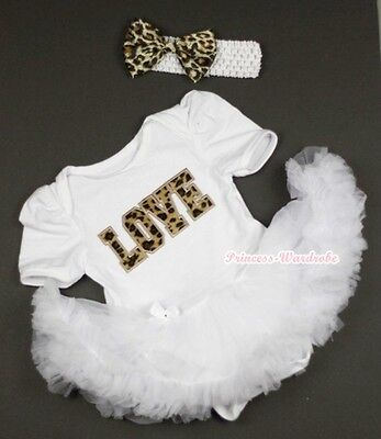 Pure White Jumpsuit Leopard LOVE  Print & White Baby Girl Dress NB-12Month