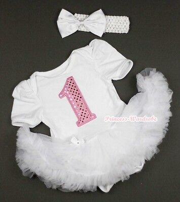 Pure White Jumpsuit Sparkle 1st Number Print  & White Baby Girl Dress NB-12Month