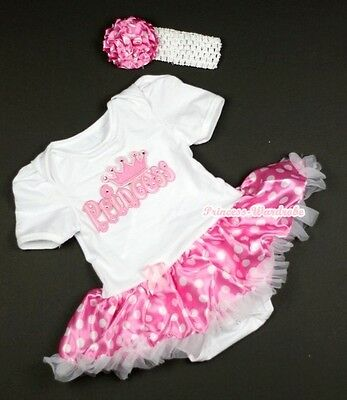Infant Pure White Jumpsuit PRINCESS & Hot Pink White Dot Baby Dress NB-12Month