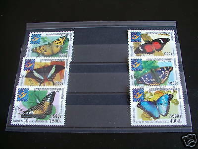 Timbres Papillons : Serie Complete Du Cambodge 2001 / Series Butterflies Stamps