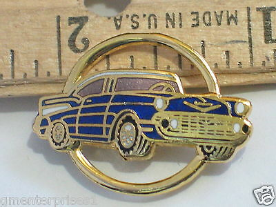 1957 Belair Chevrolet Pin Badge, Hat Tack,  Lapel Pin (  Blue ) Cir